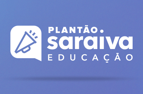 Banner com o ícone de um alto-falante à esquerda da escrita: Plantão Saraiva Educação #1