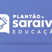 Banner com o ícone de um alto-falante à esquerda da escrita: Plantão Saraiva Educação #3